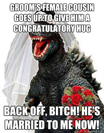groom's female cousin goes up to give him a congratulatory hug back off, bitch! he's married to me now!  Bridezilla