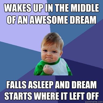 wakes up in the middle of an awesome dream falls asleep and dream starts where it left off  Success Kid