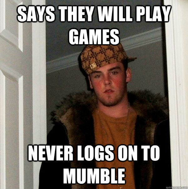 Says they will play games never logs on to mumble - Says they will play games never logs on to mumble  Scumbag Steve