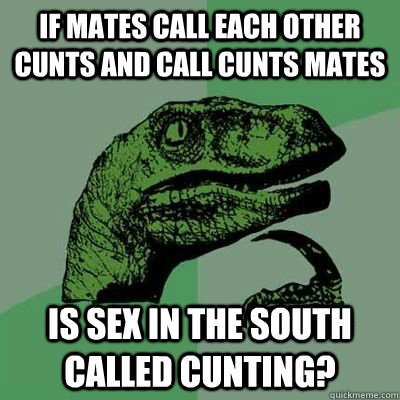 If mates call each other cunts and call cunts mates is sex in the south called cunting?