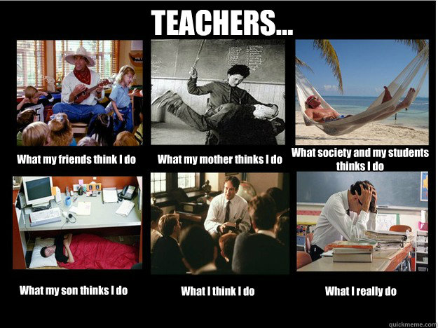 TEACHERS... What my friends think I do What my mother thinks I do What society and my students thinks I do What my son thinks I do What I think I do What I really do  What People Think I Do