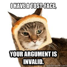 i have a tost-face, Your argument is invalid.  toast face cat