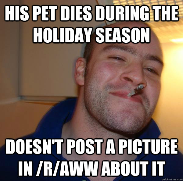 HIS PET DIES DURING THE HOLIDAY SEASON DOESN'T POST A PICTURE IN /r/AWW ABOUT IT - HIS PET DIES DURING THE HOLIDAY SEASON DOESN'T POST A PICTURE IN /r/AWW ABOUT IT  Misc