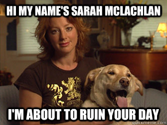 Hi my name's Sarah Mclachlan I'm about to ruin your day