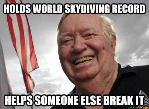 holds world skydiving record helps someone else break it - holds world skydiving record helps someone else break it  Misc