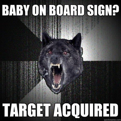 Baby on board sign? Target acquired   Insanity Wolf