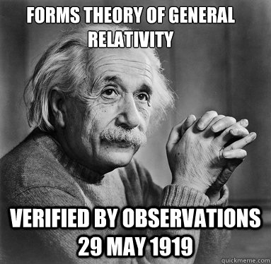 Verified by observations 29 May 1919 Forms Theory of General Relativity