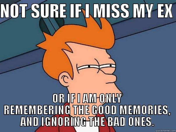 NOT SURE IF I MISS MY EX  OR IF I AM ONLY REMEMBERING THE GOOD MEMORIES, AND IGNORING THE BAD ONES.