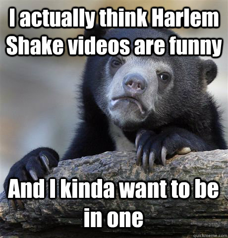 I actually think Harlem Shake videos are funny And I kinda want to be in one - I actually think Harlem Shake videos are funny And I kinda want to be in one  Confession Bear