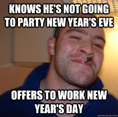 knows he's not going to party New year's eve offers to work New year's day - knows he's not going to party New year's eve offers to work New year's day  GGG plays SC