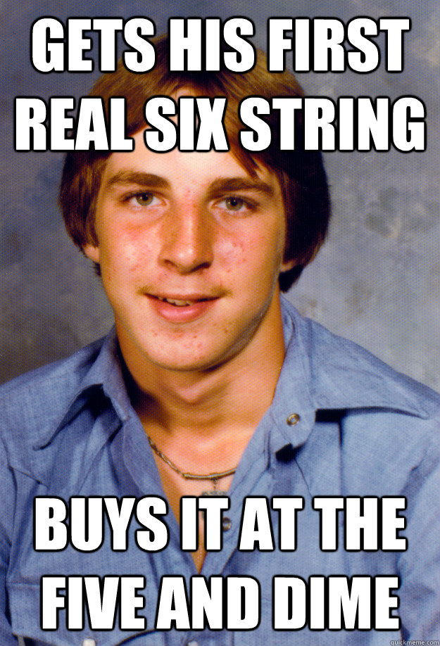 gets his first real six string buys it at the five and dime - gets his first real six string buys it at the five and dime  Old Economy Steven
