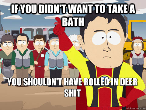 If you didn't want to take a bath you shouldn't have rolled in deer shit - If you didn't want to take a bath you shouldn't have rolled in deer shit  Captain Hindsight
