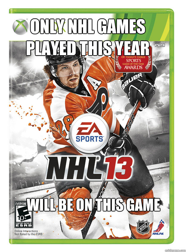 only nhl games played this year will be on this game - only nhl games played this year will be on this game  Misc