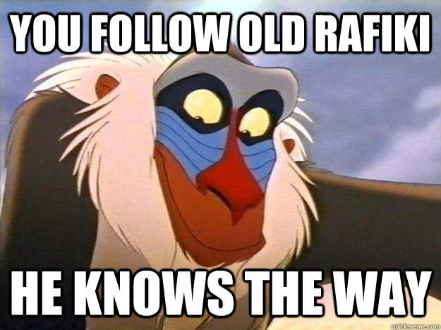 you follow old Rafiki He knows the way