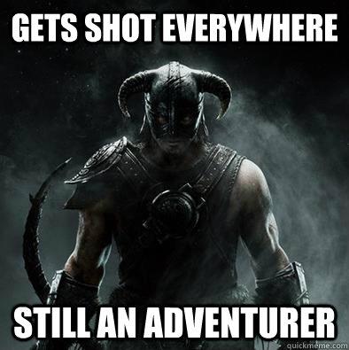 Gets shot everywhere still an adventurer