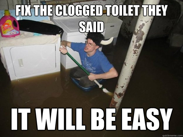 FIX THE CLOGGED TOILET THEY SAID IT WILL BE EASY - FIX THE CLOGGED TOILET THEY SAID IT WILL BE EASY  Laundry viking