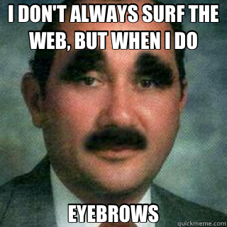 0d3d2e2a13dafef87a90760ad532b08da2638db2c026822a4861e26eb62b7ad9 i don't always surf the web, but when i do eyebrows misc quickmeme,Eyebrows Meme Internet