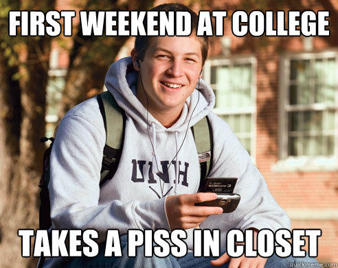 First weekend at college takes a piss in closet - First weekend at college takes a piss in closet  College Freshman