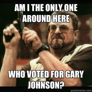 AM I THE ONLY ONE AROUND HERE WHO VOTED FOR GARY JOHNSON? - AM I THE ONLY ONE AROUND HERE WHO VOTED FOR GARY JOHNSON?  Am I The Only One Round Here
