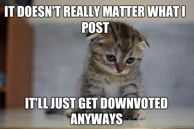 It doesn't really matter what I post It'll just get downvoted anyways   Sad Kitten