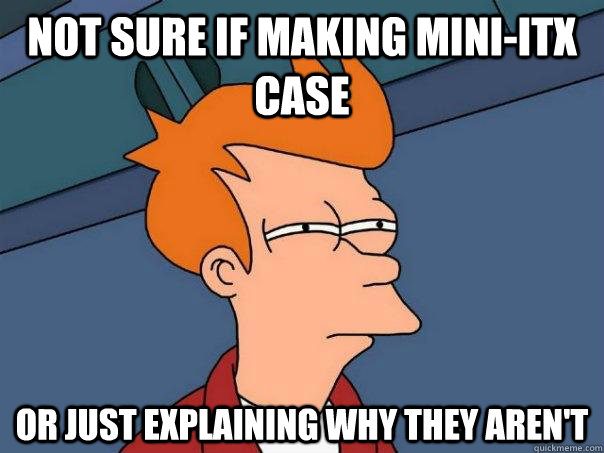 Not sure if making mini-ITX case Or just explaining why they aren't - Not sure if making mini-ITX case Or just explaining why they aren't  Futurama Fry