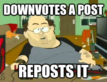 Downvotes a Post Reposts It