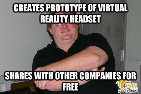 Creates prototype of virtual reality headset Shares with other companies for free - Creates prototype of virtual reality headset Shares with other companies for free  Good Guy Gaben