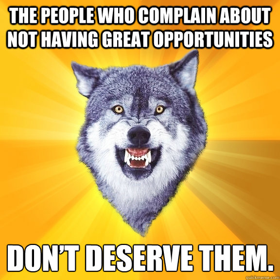 The people who complain about not having great opportunities  don't deserve them. - The people who complain about not having great opportunities  don't deserve them.  Courage Wolf