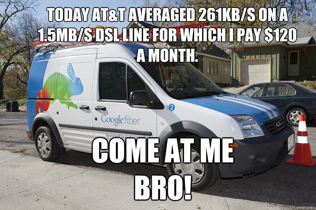Today AT&T averaged 261KB/S on a 1.5MB/S DSL line for which I pay $120 a month.  Come at me BRO!