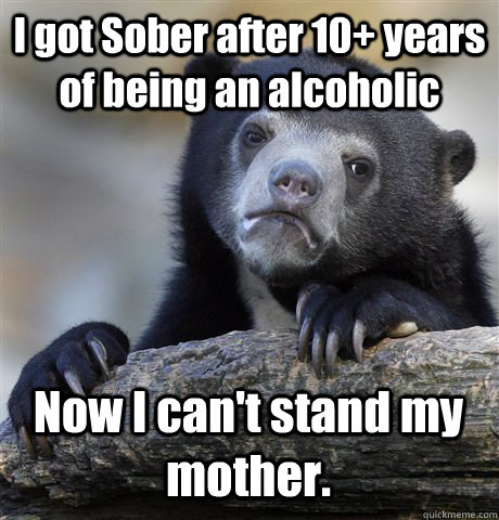 I got Sober after 10+ years of being an alcoholic  Now I can't stand my mother. - I got Sober after 10+ years of being an alcoholic  Now I can't stand my mother.  Confession Bear