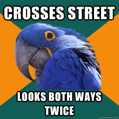 Crosses street Looks both ways twice - Crosses street Looks both ways twice  Paranoid Parrot