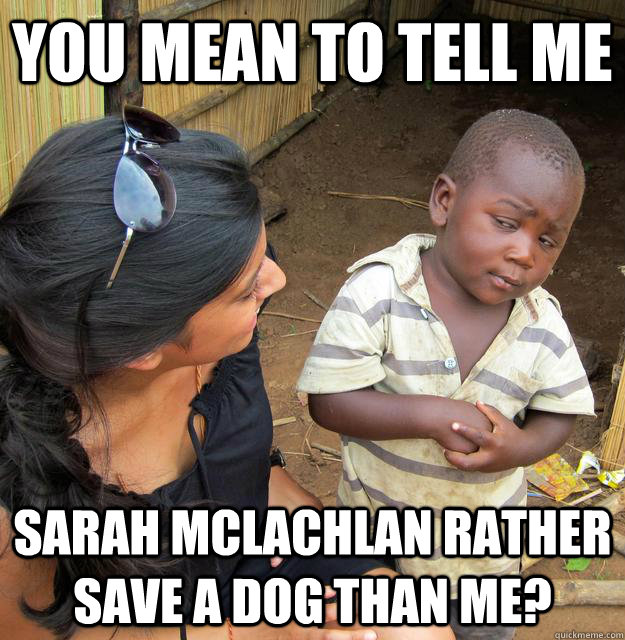 You mean to tell me Sarah McLachlan rather save a dog than me? - You mean to tell me Sarah McLachlan rather save a dog than me?  Skeptical Third World Kid