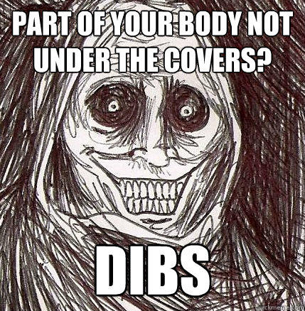 Part of your body not under the covers? Dibs - Part of your body not under the covers? Dibs  Horrifying Houseguest