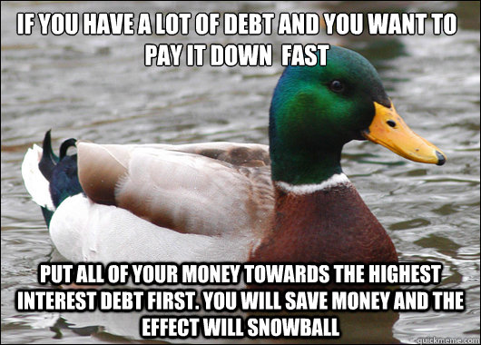 if you have a lot of debt and you want to pay it down  fast put all of your money towards the highest interest debt first. you will save money and the effect will snowball - if you have a lot of debt and you want to pay it down  fast put all of your money towards the highest interest debt first. you will save money and the effect will snowball  Actual Advice Mallard