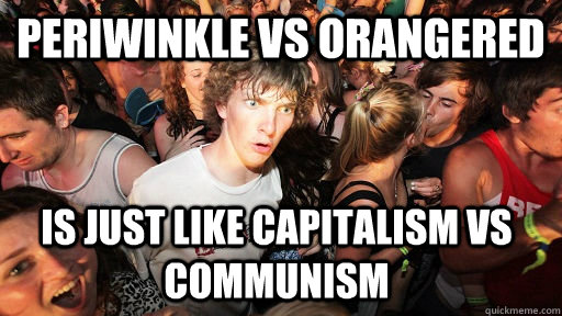 Periwinkle vs Orangered is just like capitalism vs communism - Periwinkle vs Orangered is just like capitalism vs communism  Sudden Clarity Clarence