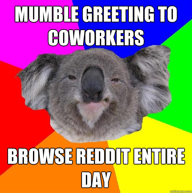 Mumble greeting to coworkers Browse Reddit entire day  Incompetent coworker koala