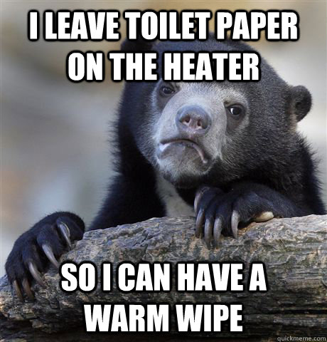 I LEAVE TOILET PAPER ON THE HEATER SO I CAN HAVE A     WARM WIPE - I LEAVE TOILET PAPER ON THE HEATER SO I CAN HAVE A     WARM WIPE  Confession Bear