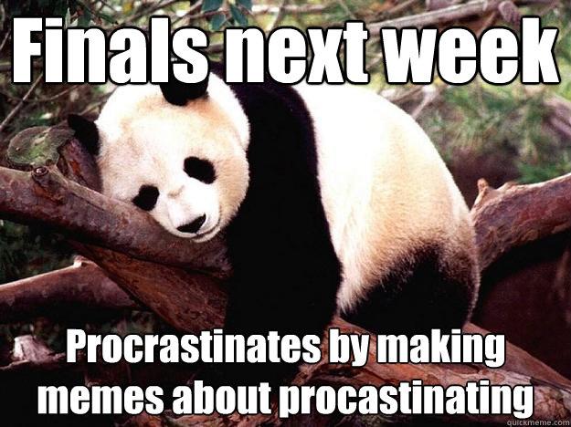 Finals next week Procrastinates by making memes about procastinating  Procrastination Panda