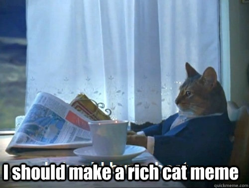 I should make a rich cat meme -  I should make a rich cat meme  Rich cat is rich