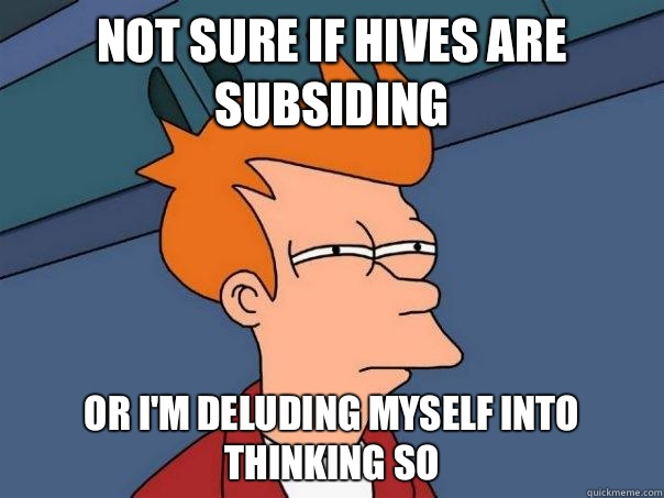 Not sure if hives are subsiding Or I'm deluding myself into thinking so - Not sure if hives are subsiding Or I'm deluding myself into thinking so  Futurama Fry