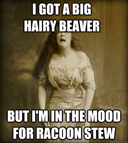 i got a big hairy beaver but i'm in the mood for racoon stew - i got a big hairy beaver but i'm in the mood for racoon stew  1890s Problems