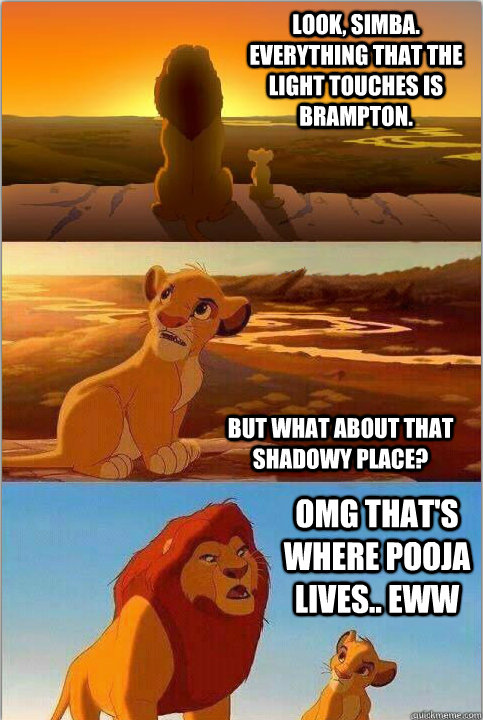 Look, Simba. Everything that the light touches is Brampton. But what about that shadowy place? OMG that's where pooja lives.. eww