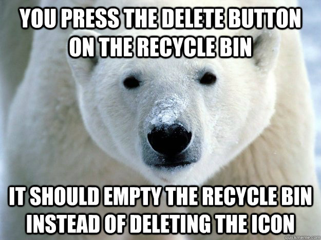 you press the delete button on the recycle bin it should empty the recycle bin instead of deleting the icon - you press the delete button on the recycle bin it should empty the recycle bin instead of deleting the icon  Misc