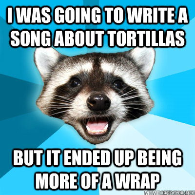 i was going to write a song about tortillas but it ended up being more of a wrap
