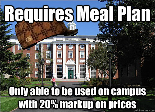 Requires Meal Plan Only able to be used on campus with 20% markup on prices - Requires Meal Plan Only able to be used on campus with 20% markup on prices  Scumbag University