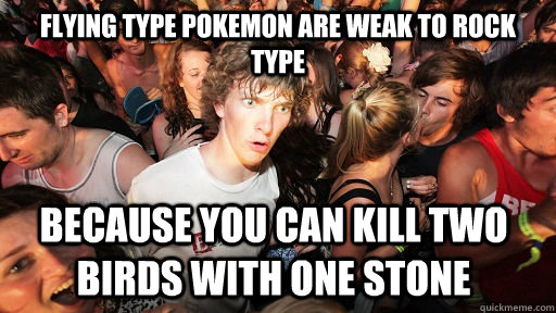 Flying type pokemon are weak to rock type because you can kill two birds with one stone - Flying type pokemon are weak to rock type because you can kill two birds with one stone  Sudden Clarity Clarence