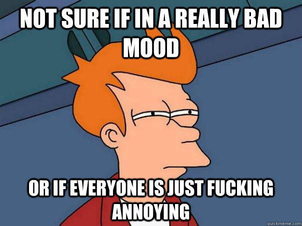 Not sure if in a really bad mood Or if everyone is just fucking annoying