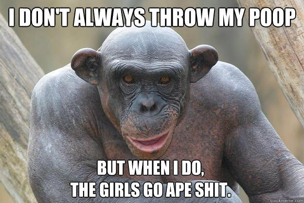 I don't always throw my poop but when I do,  the girls go ape shit.  The Most Interesting Chimp In The World