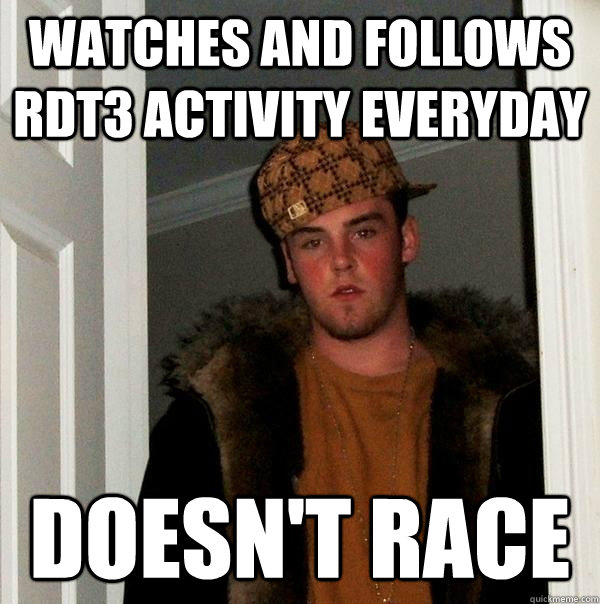 Watches and follows RDT3 activity everyday doesn't race - Watches and follows RDT3 activity everyday doesn't race  Misc