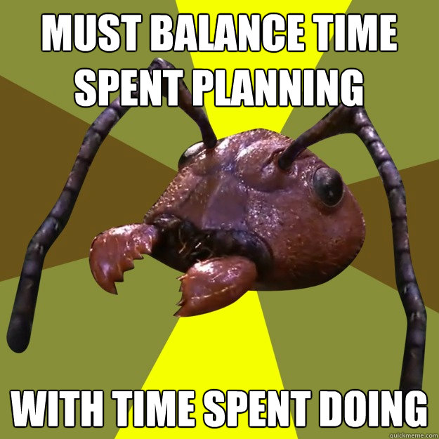 Must balance time spent planning With time spent doing